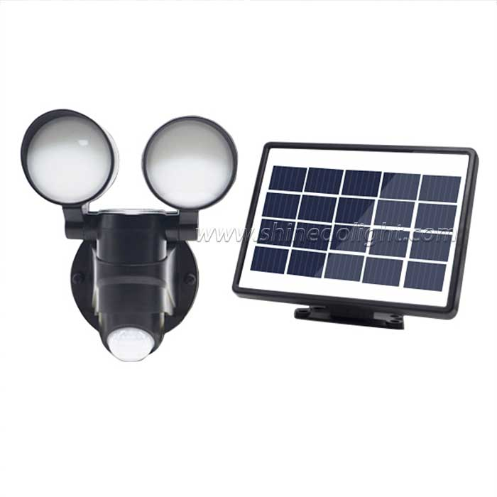 Adjustable Dual Head Solar Powered LED Security Flood Light