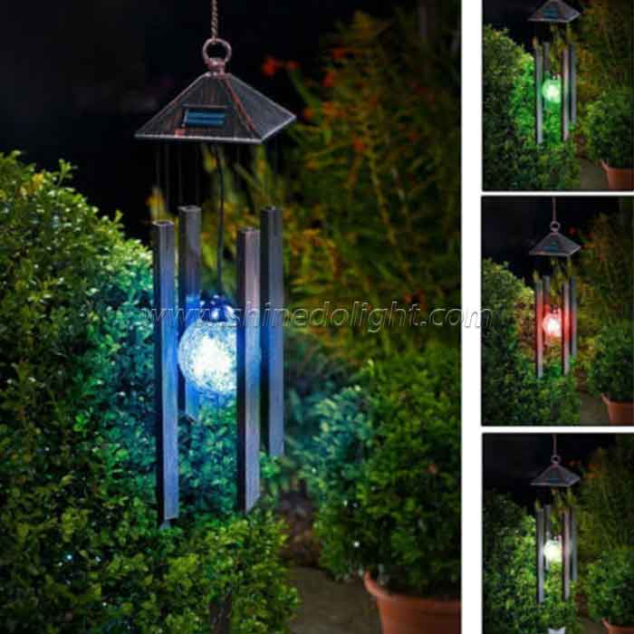 Solar Wind Chime Colour Changing Windlights Outdoor Garden Metal Wind Chime