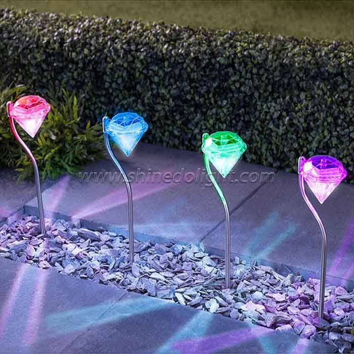 Outdoor Decorative Diamond Shape LED Garden Stake Landscape Lights