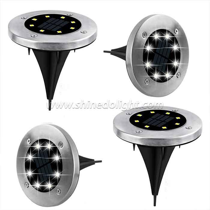 8 LED Waterproof Landscape Stainless Steel Solar Decking Lights