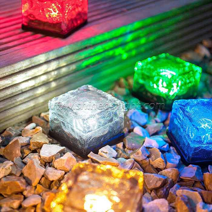 Solar Crystal Glass Brick LED Night Lamp Sensor Solar Ice Rocks Light