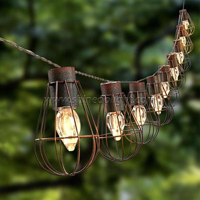 Hanging 10LED Metal Solar Bulb String Copper Fairy String Lights