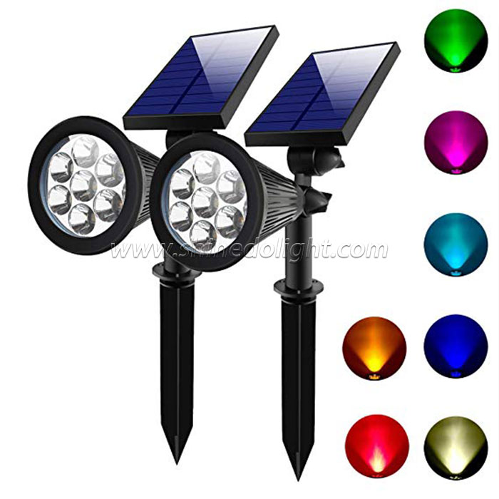 7LED Solar Powered Garden Spotlight - Outdoor Spot Light for Walkways, Landscaping, Security,