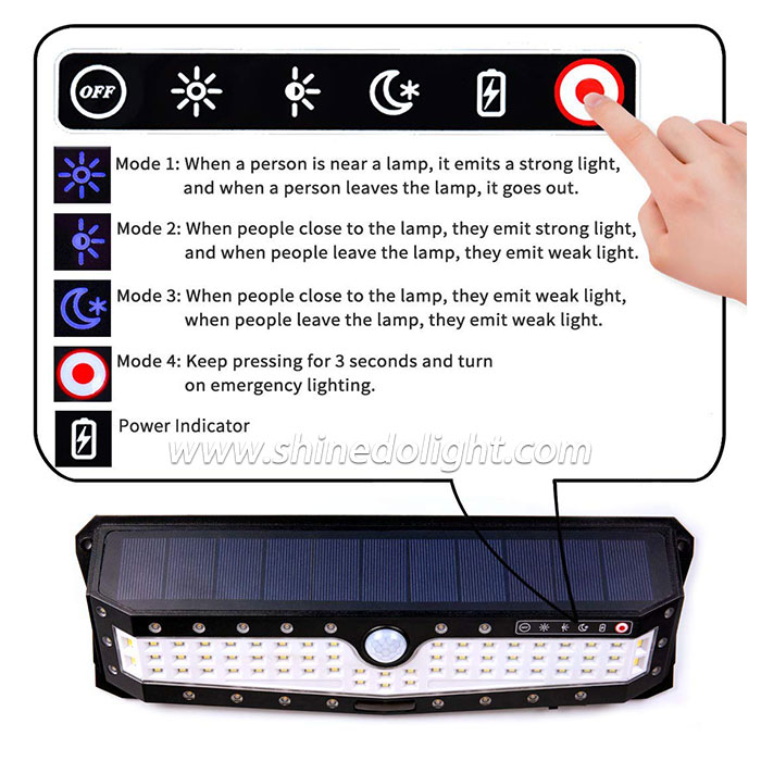 Newest 102 LED Solar Motion Sensor Security Emergency Light for Garden Yard