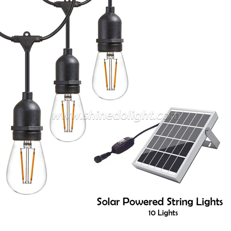 Outdoor LED Solar String Lights–Solar Powered 10 Lights Heavy Duty,Hanging Light Sockets with 2W Vintage Edison LED Light Bulbs