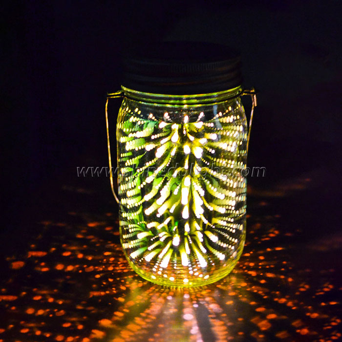 3D Hanging Solar Mason Jar Lid Lights,Led String Fairy Lights Solar Laterns Table Lights, and Jars Included. Great Outdoor Lawn Décor for Patio Garden, Yard and Lawn.