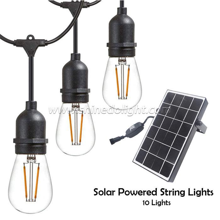 Outdoor LED Solar String Lights–Solar Powered 10 Lights Heavy Duty,Hanging Light Sockets with 2W Vintage Edison LED Light Bulbs