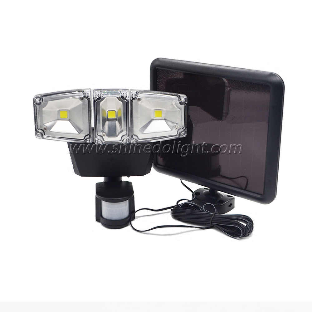 Three Heads Adjustable COB Solar Flood Lights Outdoor Waterproof lamps
