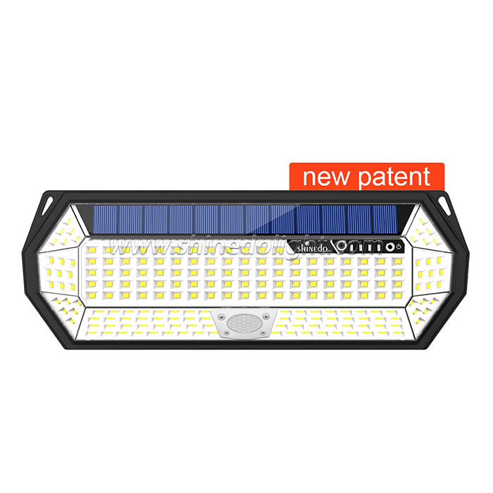 Shinedo New Patent 196 leds Outdoor Waterproof Solar Wall Mounted Light