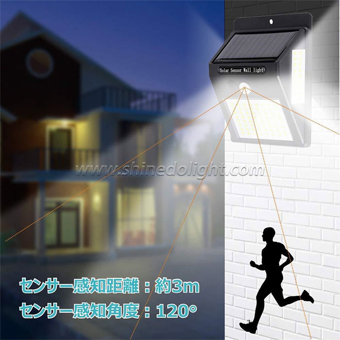 100led Outdoor Motion Sensor Wall Lamp Solar Powered Lights