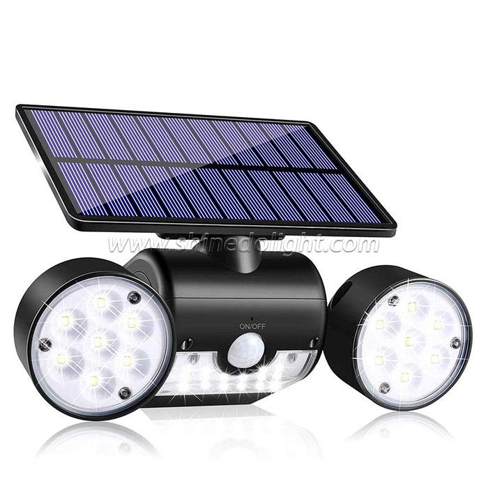 Waterproof Solar Powered Wall Lights with Motion Sensor Dual Head Spotlights