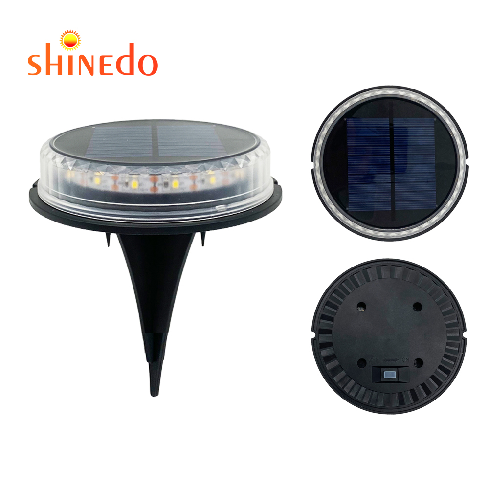 12 LED IP65 Waterproof Solar Powered Disk Lights for Garden