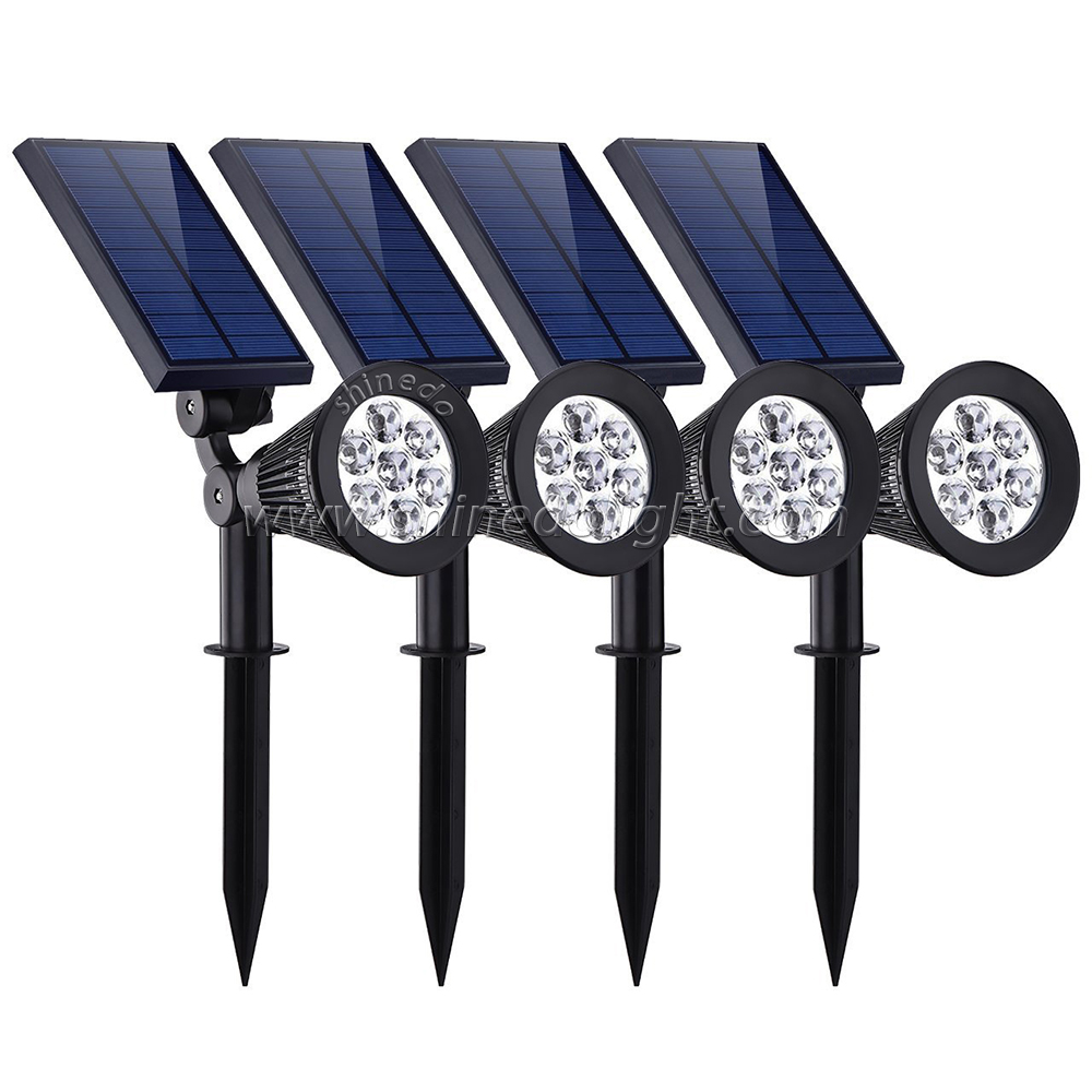 Waterproof 4 LED Solar Spotlight Adjustable Wall Landscape Security Light